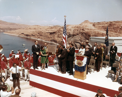 Lady Bird Johnson dedicating Glen Canyon Dam on 9/22/66